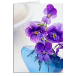 Purple Pansies Flowers Blue Vase Floral Pansy Card