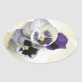 Purple Pansies in Tea Cup Oval Sticker
