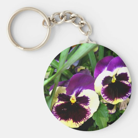Purple pansies - Keychain