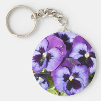 purple pansies keychain