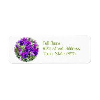 Purple Pansies Return Address Label