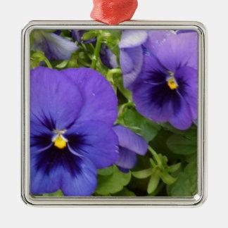 Purple Pansies Metal Ornament