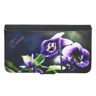 Purple Pansies Nebula Galaxy S5 Wallet Case