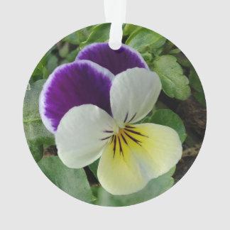 Purple pansies ornament