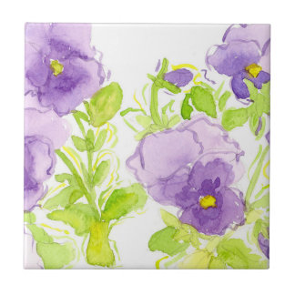 Purple Pansies Pastel Watercolor Flowers Ceramic Tile