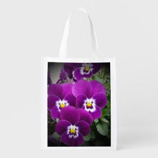 Purple Pansies Peaceful Grocery Bag