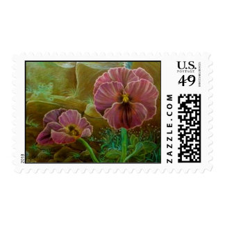 'Purple Pansies' postage stamp