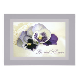 Purple Pansies Pretty Bridal Shower Invitation