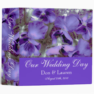 Purple Pansies Purple Wedding Photo Album 3 Ring Binders