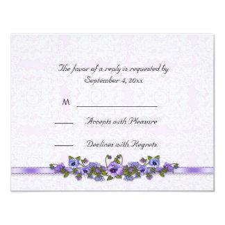 Purple Pansies Ribbon RSVP Card