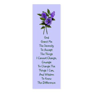 Purple Pansies, Serenity Prayer Double-Sided Mini Business Cards (Pack Of 20)