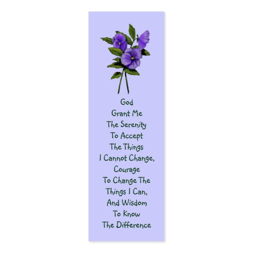 Purple Pansies, Serenity Prayer Business Card Templates