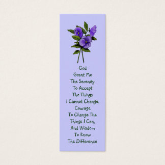 Purple Pansies, Serenity Prayer Mini Business Card