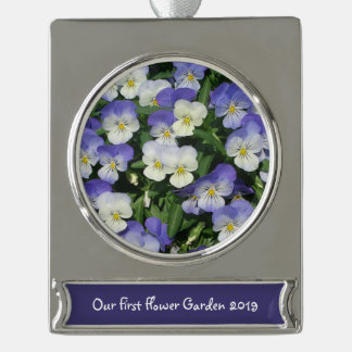 Purple Pansies Silver Plated Banner Ornament
