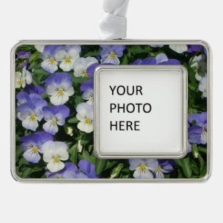 Purple Pansies Silver Plated Framed Ornament