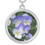 Purple Pansies Silver Plated Necklace