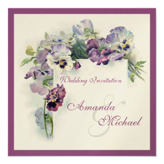 Purple pansies square wedding invitation