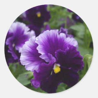 Purple Pansies Round Sticker