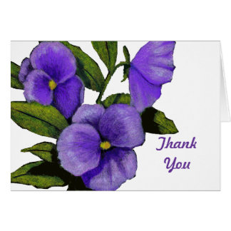 Purple Pansies: Thank You: Color Pencil Art Stationery Note Card