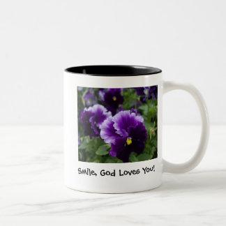 Purple Pansies Two-Tone Coffee Mug