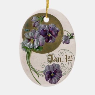 Purple Pansies Vintage New Year Ceramic Ornament