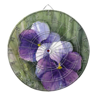 Purple Pansies Viola Watercolor Dart Board