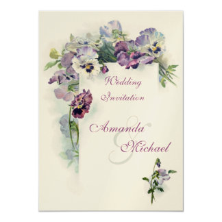 Purple pansies wedding invitation