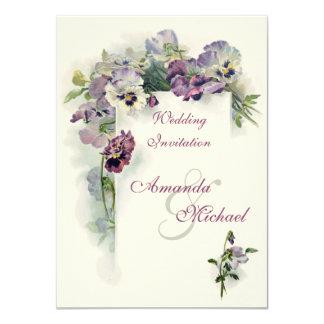 """Purple pansies wedding invitation 4.5"""" x 6.25"""" invitation card"""