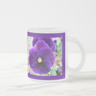 Purple Pansy 10 Oz Frosted Glass Coffee Mug