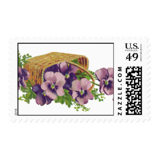 Purple Pansy Basket Stamps
