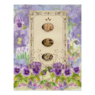 Purple Pansy Bird Eggs Watercolor Collage Art Poster