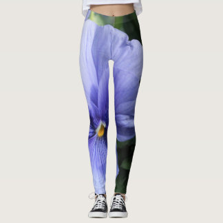 Purple Pansy Blossom with Green & Yellow, Photo 43 Leggings