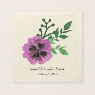 Purple Pansy Bridal Shower Napkins