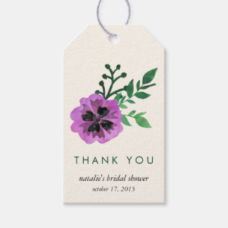 Purple Pansy Bridal Shower Thank You Favor Tags