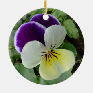 Purple pansy ceramic ornament