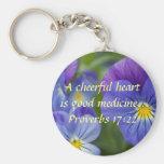 Purple Pansy - Cheerfulness Basic Round Button Keychain