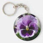Purple Pansy Close Up Basic Round Button Keychain