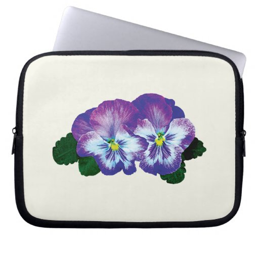 Purple Pansy Duo Laptop Computer Sleeves