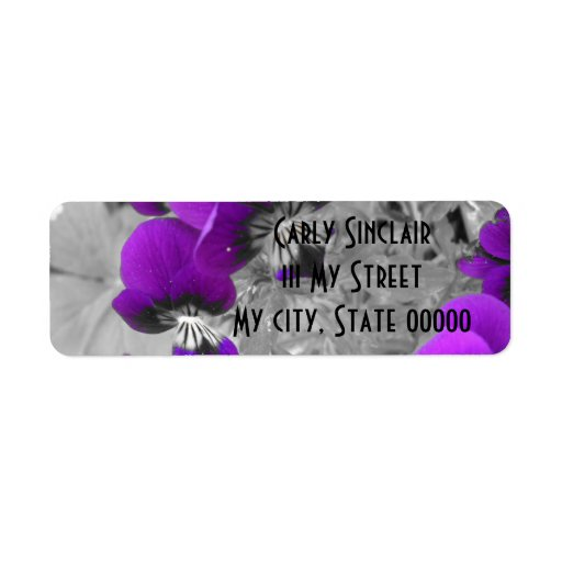 Purple Pansy Effect Custom Return Address Labels
