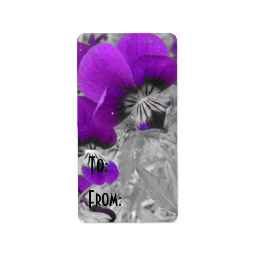 Purple Pansy Effect Custom Address Label