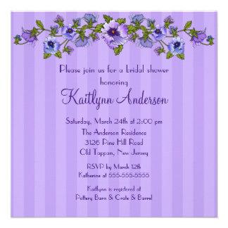 Purple Pansy Floral Bridal Shower Invitation