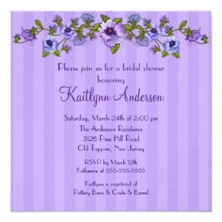 Purple Pansy Floral Bridal Shower Invitation