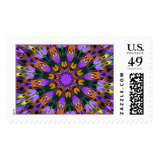 Purple Pansy Floral Kaleidoscope Postage Stamp