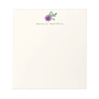 Purple Pansy Floral Personalized Note Pad