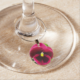 Purple Pansy Floral Wine Glass Charm
