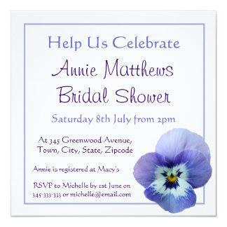 "Purple Pansy Flower Bridal Shower Invite 5.25"" Square Invitation Card"