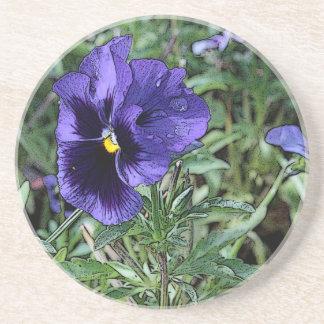 Purple Pansy Flower Coaster