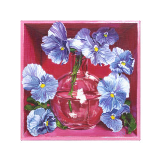 Purple Pansy Flower Painting Wrapped Canvas