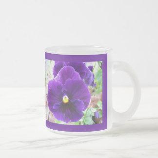 Purple Pansy Frosted Glass Coffee Mug