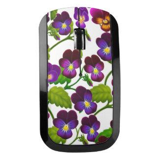 Purple Pansy Garden Flowers Wireless Mouse